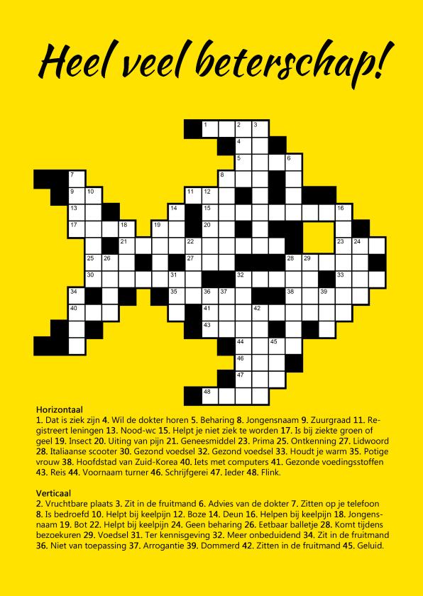 beterschapskaartje kruiswoordpuzzel