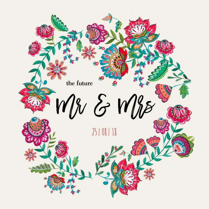trouwkaart bloemen bohemien huwelijk