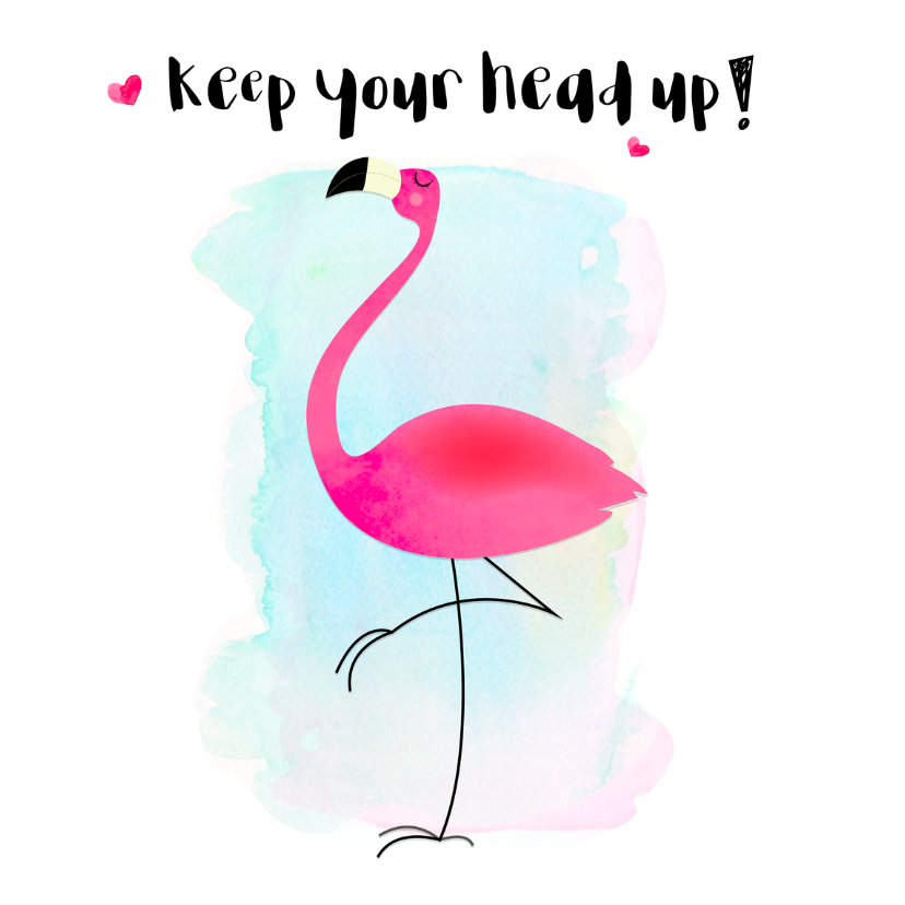 motivatie coachingkaart flamingo keep your head up