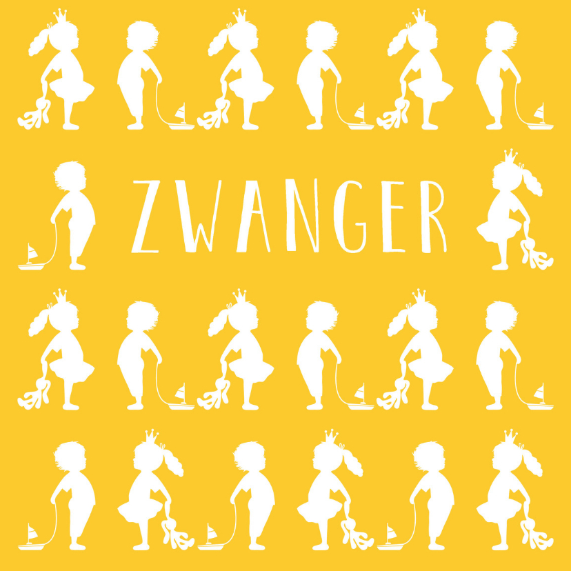 felicitatie zwanger silhouet geel 5r