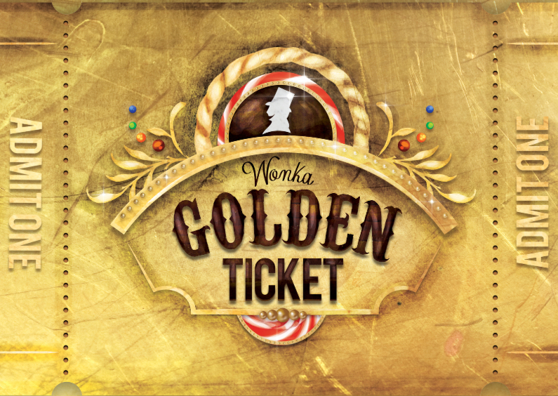 willy wonka golden ticket goud uitnodiging