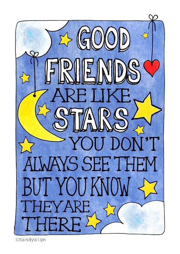 vriendschap kaart vriendendag good friends are like stars
