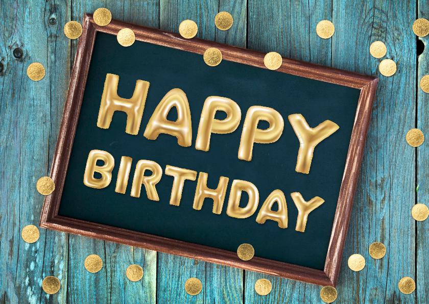 happy birthday verjaardagskaart gouden ballonnen