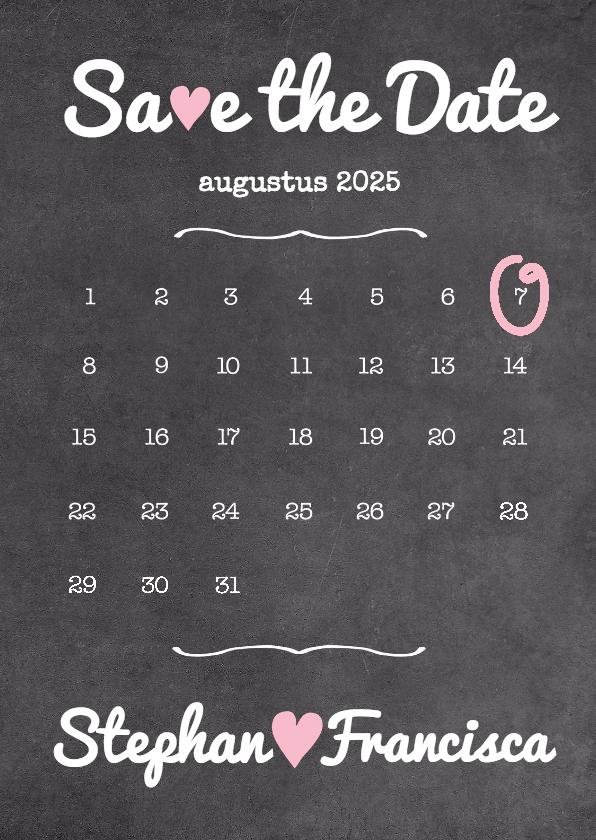save the date kalender krijt