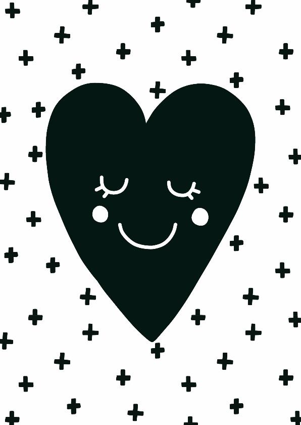 liefde kaart hart zwart wit