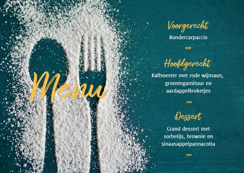 menukaart met lepel en vork