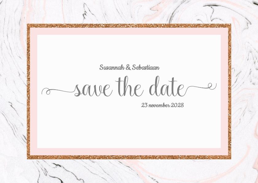 save the date kaart met marmer
