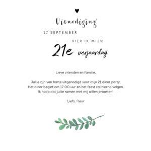 Uitnodiging Etentje Verjaardag 21 Diner 2 Uitnodigingen Nl