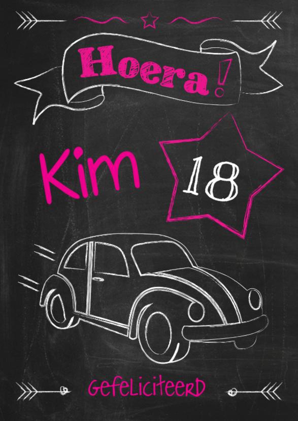 verjaardagskaart 18 jaar auto