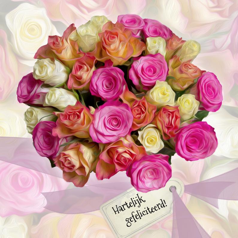 verjaardagskaart bloemen boeket rozen